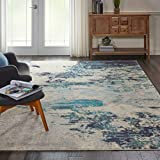 Nourison Celestial Modern Abstract Area Rug, 5'3' x 7'3' (5'x7'), Ivory/Teal Blue