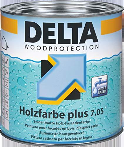 Delta Woodprotection plus 7.05 Seidenmatte Holzfassadenfarbe Weiß 1 Liter