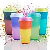 Vasos Plastico de Colores 5pcs Vaso de Plástico de PP Vasos Reutilizables en 5Colores Vasos plástico Reutilizables con Tapa para Fiesta/Parrilla/Cumpleaños/Viajes Familiares sin BPA