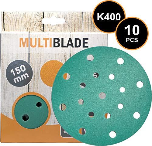 Multiblade Professioneller Klett Schleifscheiben 150mm, 10 Stück, Korn 400, 17 Löcher, für Holz und Metall, Profesioneller Qualität, für Exzenterschleifer, Rotationsschleifer