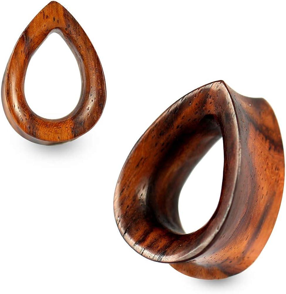 0 Gauge (8MM) Double Flared Sono Natural Wood Flat Teardrop Tunnels Gauges Ear Plug Piercing Jewelry - Sold by Piece