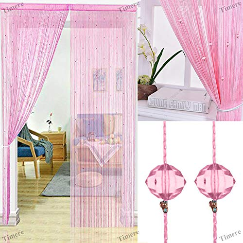 Timere Crystal Beaded Curtain Tassel Curtain - Partition Door Curtain Beaded String Curtain Door Screen Panel Home Decor Divider Crystal Tassel Screen 90x200cm (Pink)