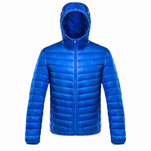 ON Herren Daunenjacke Winterjacke leicht duenn Daunenmantel Herren down Jacket mit Muetze Blau XXXL