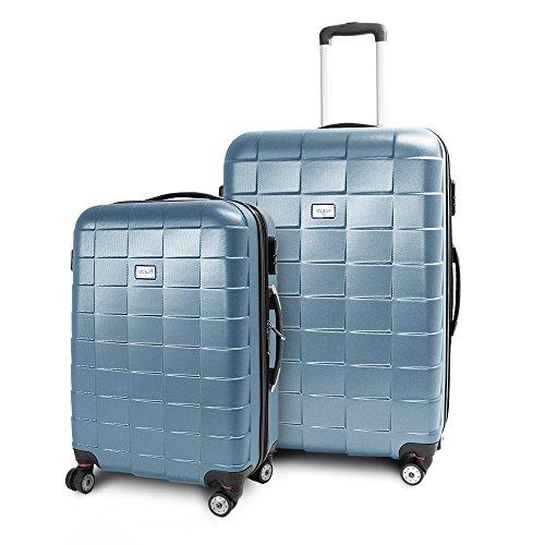BERWIN Kofferset L + XL 2-teilig Reisekoffer Trolley Hartschalenkoffer ABS Teleskopgriff Modell Squares (Türkis)