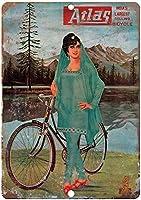 アトラス自転車ヴィンテージ広告レトロな錫金属看板バー、研究、リビングルーム、ダイニングルーム、ベッドルーム、カフェ