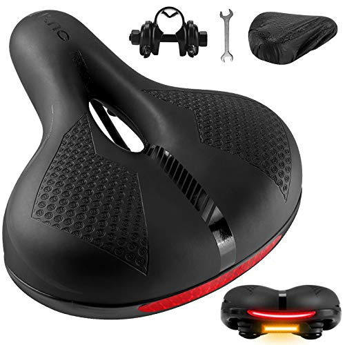OUXI Bike Seat, Comfortable Wide Bicycle Saddle Memory Foam Cushion Padded with Waterproof for MTB Mountain Bike Road Bike Spinning Exercise Bike- Extra Soft Comfort for Women Men
