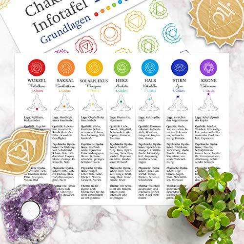 Chakra Infotafel 1 | Schaubild für die Arbeit mit den Chakren | Alle Grundlagen der Chakrenlehre auf einen Blick | A4 Format