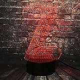KangYD Buchstabe Z 3D Nachtlicht, LED Stimmung Lampe, Atmosphäre Licht, Schlafzimmer Dekor, Raumbeleuchtung, Mädchen Geschenk, Halloween Geschenk, A - Touch 7-Farbe (schwarze Basis)