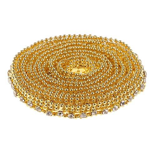 F Fityle 1 Yarda de Cadena de Diamantes de Imitación de Cristal con Cuentas Adorno de Cinta Apliques de Costura de Ropa