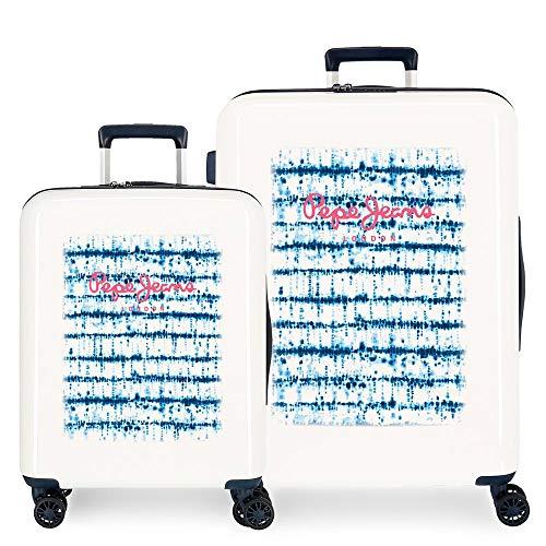 Pepe Jeans Faina Suitcase Set Beige 55/70 cm Rigid ABS Integrated TSA Lock 119.4L 6 kg 4 Double Wheels Hand Luggage