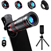 Crenova Handy Objektiv Kamera Linse 10 in 1 Kit 22x Teleobjektiv, 235° Fischaugenobjektiv, 25 Makro-Objektiv und 0,62 Weitwinkelobjektiv