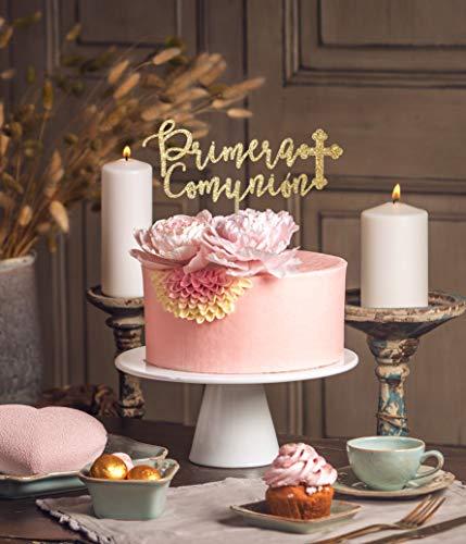 DKISEE Decoración para tarta de comunión, de Mi Primera Comunión, decoración para tarta de comunión, decoración católica, decoración religiosa en español de 15 cm