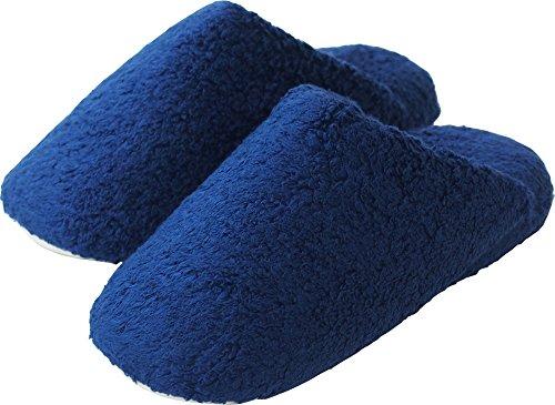 内野(UCHINO) ごくふわ スリッパ 洗濯可能 抗菌防臭 ダークブルー (L/約25~27cm)