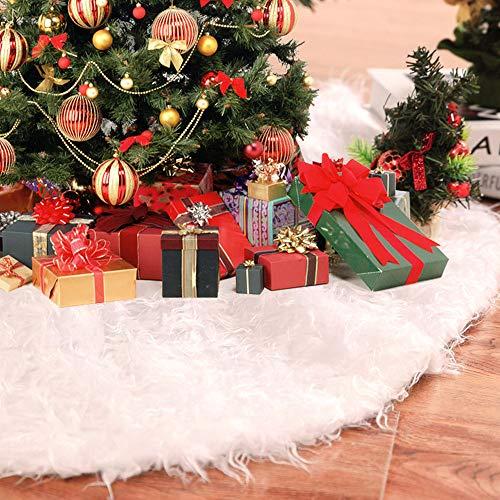 LYTIVAGEN 90 cm Weihnachtsbaum Rock Weiß Christmasbaum Decke Runde Weihnachten Baum Rock Tannenbaum Christbaum Teppich Plüsch Weihnachtsschmuck Weihnachtsbaumteppich für Weihnachtsdekoration