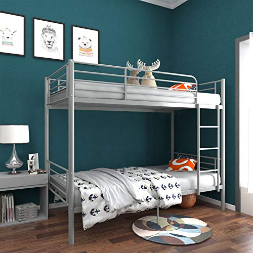 mecor Metal Bunk Bed Twin Over Twin - Sturdy Bed Frame with Safety Guard Rail & Removable Ladder -...