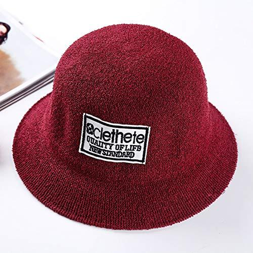 JXFM Herfst en winter hoed dames wastafel hoed reizen Xiaoqing outdoor nieuwe schaduw visser hoed strand zonnehoed tij wilde pot hoed letter wijn rood