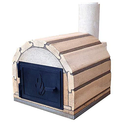 PUR Schamotte® Genua Basic mit Stahltür, Pizzaofen Bausatz mit Anleitung, Holzbackofen/Steinofen Selber Bauen Garten