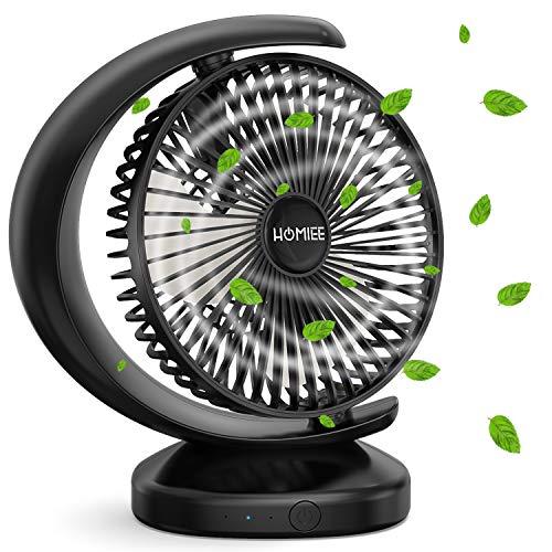 【2020最新デザイン】HOMIEE 扇風機 卓上 強風 静音 小型 USBファン コードレス 風量3段階調節 120度角度調整 長時間連続使用 パワフル送風 3枚羽根 おしゃれ 充電式 安全 熱中症対策 宅内/オフィス/アウトドアにも使用可能 日本語説明書付 ブラック