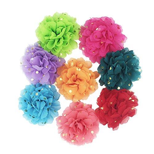 HBEDU Hundehalsband Blumen Pet Charms Halsbänder Zubehör für Katze Puppy Fliege Fellpflege Dekoration 8Stück, 10cm, 8pcs Gold Dots