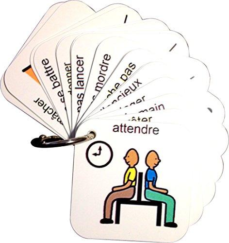 Porte-clés de Comportement - Français (produit de communication visuelle en plastique et étanche pour l'autisme)