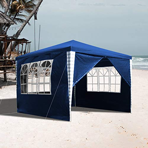 vingo Garden Gazebos 3x3m Gazebo Party Tent with 4 Side Panels Waterproof Marquee Canopy for Outdoor Wedding Garden Party Camping, Blue