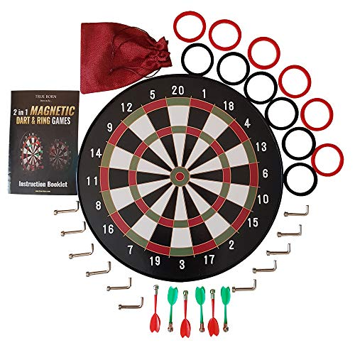 Magnetic Dart Board and Hookey Ring Toss Games Set with Dartboard Darts Hooks Rings – Best Gift for Kids Boys Teens Adults Family – Throw Darts or Toss Rings – Safe Party Games – Indoor or Outdoor Fun