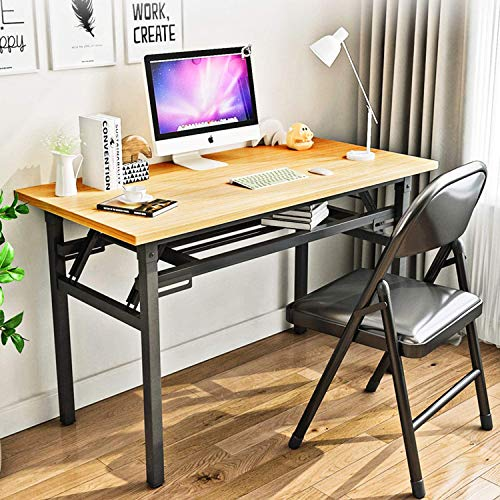 StarAndDaisy Computer Desk Folding Table No-Assembly Modern Desk for Small Spaces Study Writing Desk with Storage Shelf Desks for...