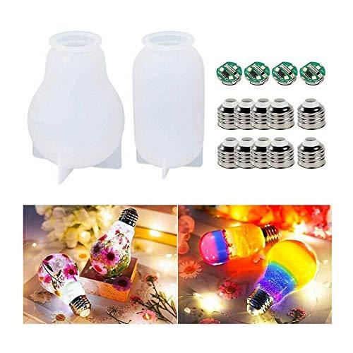 Moldes de resina para bombilla de resina, para base de chip de silicona, con 10 tapas, 4 bases de chip LED, para bodas, fiestas, decoración del hogar
