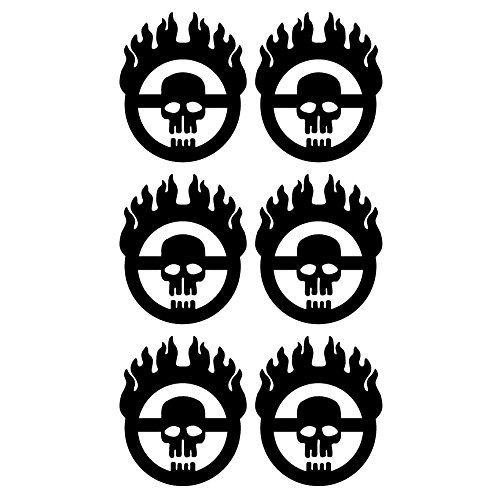 Mad Max Fury Road Style 6 Tiny Size Individual Warboy Symbol Decals 5 Year Outdoor Premium Vinyl - Single Kit - Black