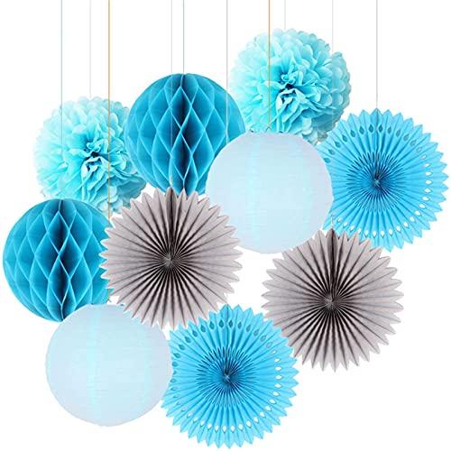 AFANGMQ 10 unids Pink Paper Decoración Conjunto Papel Fans Círculo Honeycomb Ball Linterna Flor Pomar Pompom Fiesta Cumpleaños Fiesta Decoración de Ducha (Color : Blue, Lantern Size : 10inch(25cm))
