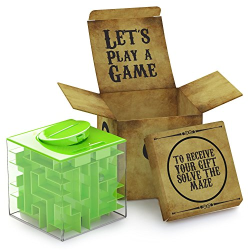 AGREATLIFE Caja Money Maze Laberinto De Dinero | Cubo Puzzle Rompecabezas | Idea Original para Regalar A Niños Y Adultos | Kit De Recompensa Reutilizable | Laberinto con Sorpresa | Lado 7.6 Cm, Verde