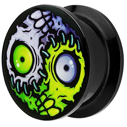 Piersando Ohr Plug Piercing Kunststoff Motiv Comic Picture Flesh Tunnel Ohrplug mit Horror Yin Yang Auge Schwarz 6mm