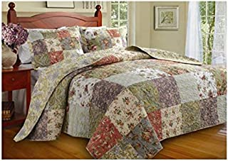 3 Piece Oversized King Bedspread Set to The Floor, 120 X 118 Inches, Country Cottage Patchwork Quilt, Floral Squares Pattern, Lavender Coral Rose Ivory White Green Blue,Beautiful Colors!