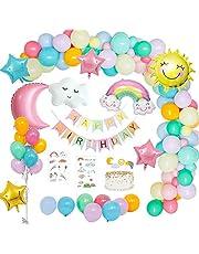 MMTX Födelsedagsdekoration flickor, födelsedagsdeko ballonger himmel tema med Happy Birthday Girlang, sol måne moln regnbåge ballong, stjärna hjärta ballong för kön avslöja flicka pojke kvinnor