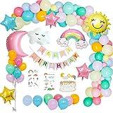 MMTX Decoraciones fiesta Cumpleaños Pastel, Feliz Cumpleaños Tema del cielo con pancarta...