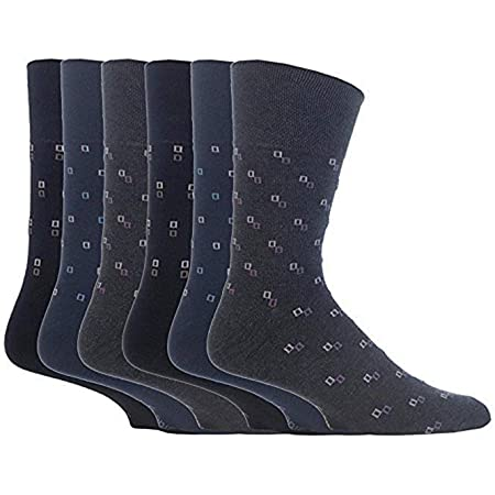 6 Pairs mens gentle grip no elastic socks 6-11 uk, 39-45 eur Assorted colours