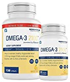 Oceanblue Omega 3 2100 – 138ct + 30ct Bonus Bottle – Triple Strength Burpless Omega 3 Fish Oil Supplement with High-Concentration EPA and DHA – Wild-Caught – Orange Flavor