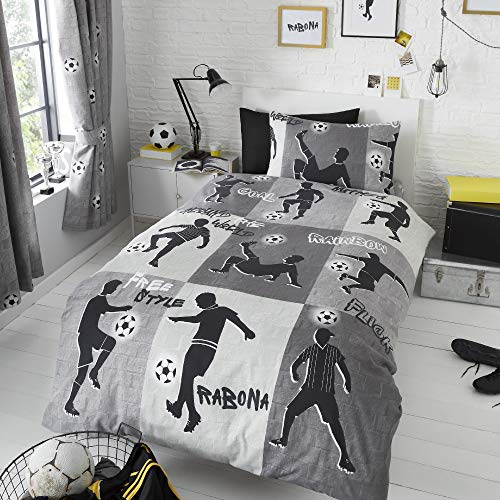 Happy Linen Company Boys Girls Kids Freestyle Football Tricks Grey Charcoal Single Reversible Duvet Cover Bedding Set