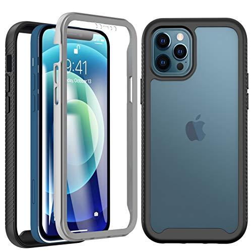 BESINPO Cover iPhone 12, Cover iPhone 12 PRO 6.1', 360 Gradi Rugged Custodia iPhone 12 Antiurto Trasparente Case con Protezione Integrata dello Schermo, Nero/Trasparente