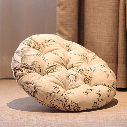 ZXCC Thick Round Cotton Linen Seat Cushion, Office Chair Pads Comfort Floor Cushion Indoor Cushions Warm Soft Pad Patio Mats For Outdoor Dining Car Pain-g Diameter-68cm(27inch)