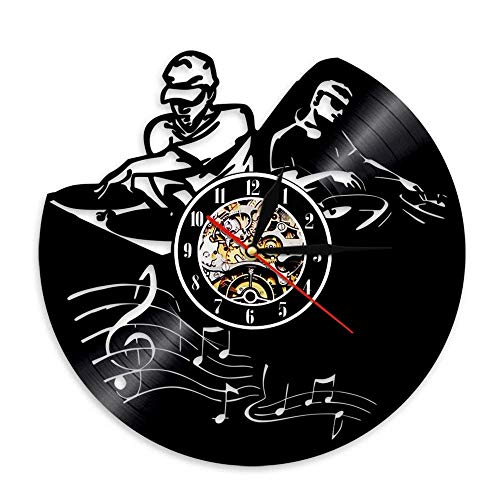 BFMBCHDJ Happy Party Dj Vinyl Uhr Musik Gitarre Vinyl Vinyl Schallplatte Wanduhr Home Decoration Wanduhr A6 Mit LED 12 Zoll