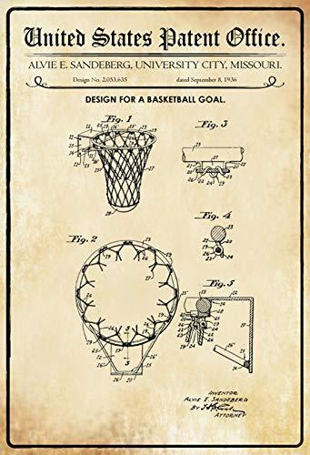 FS Patent Design Basketball - mand-Sandeberg metalen bord bord gebogen metalen teken 20 x 30 cm