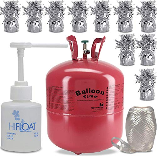 Helium Tank + 12 Balloon Weights, 5.5', 5.7 oz + Hi-Float Balloon Solutions, 5 oz + White Curling Ribbon  14.9 Cubic Feet Helium, Enough for 50 9' Balloons