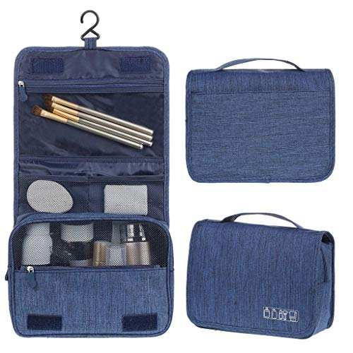 Kulturbeutel,Kulturtasche zum Aufhängen für Damen, Waschtasche für Männer und Frauen Faltbare Reisetasche (Blau)