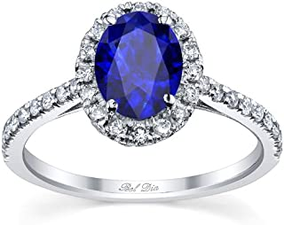 Bel Dia Oval Sapphire and Diamond Halo Engagement Ring