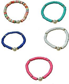 5 Pcs Clay Beaded Bracelets Stackable Faux Pearl Summer Bracelets Boho Rainbow Friendship Bracelets Lightweight African Vi...