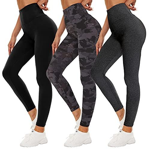 QDDQGG - Leggings da donna, a vita alta, colore: nero, per allenamento, yoga, atletica, confezione da 3