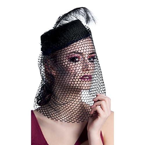 Boland- Cappello Vedova Nera Black Widow con Velo per Adulti, Nero, Taglia Unica, 04129