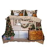 FBYYJK Navidad Edredón - Decoración Navideña Imagen De La Cocina Textiles para El Hogar Ropa De Cama De Tres Piezas Set Hoja De Nórdica Cubierta Nórdica para Niños Simple, UE, Rey (240