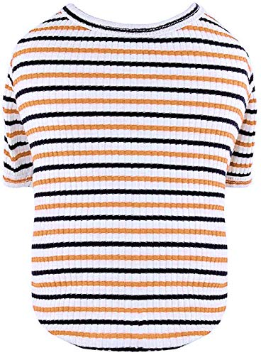Puppy Face Dog Shirts Striped Puppy Tee Shirt Pet Clothes for Small or Meium Dogs Tshirt Summer Dog T-Shirt Sleevele Cat Apparel Tops(Large, Orange)